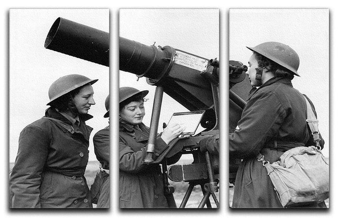 Women soldiers take aim WW2 3 Split Panel Canvas Print