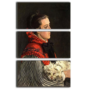 Women with Dog by Monet 3 Split Panel Canvas Print - Canvas Art Rocks - 1