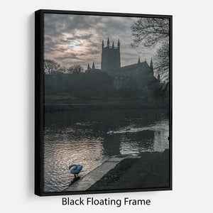 Worcester Cathedral Floating Frame Canvas - Canvas Art Rocks - 1