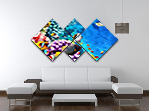 World with corals and tropical fish 4 Square Multi Panel Canvas  - Canvas Art Rocks - 3