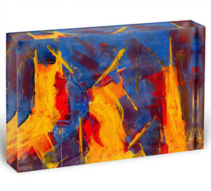 Yellow Blue Brown and Red Abstract Painting Acrylic Block - Canvas Art Rocks - 1