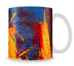 Yellow Blue Brown and Red Abstract Painting Mug - Canvas Art Rocks - 1