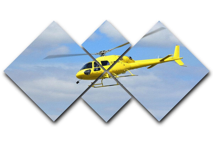 Yellow helicopter in the air 4 Square Multi Panel Canvas