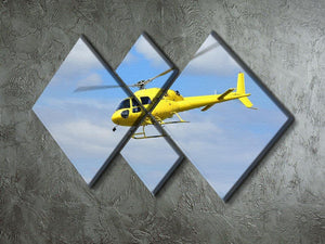 Yellow helicopter in the air 4 Square Multi Panel Canvas  - Canvas Art Rocks - 2