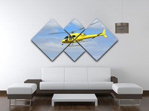 Yellow helicopter in the air 4 Square Multi Panel Canvas  - Canvas Art Rocks - 3