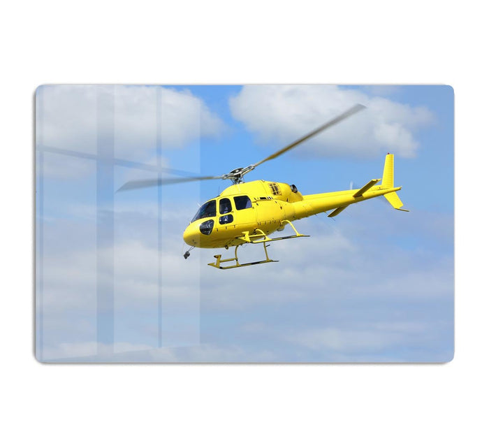 Yellow helicopter in the air HD Metal Print