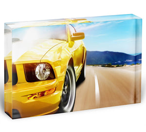 Yellow sport car Acrylic Block - Canvas Art Rocks - 1