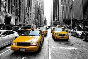 Yellow taxi in Black and White New York Wall Mural Wallpaper - Canvas Art Rocks - 1