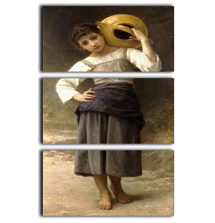 Young Girl Going to the Spring By Bouguereau 3 Split Panel Canvas Print
