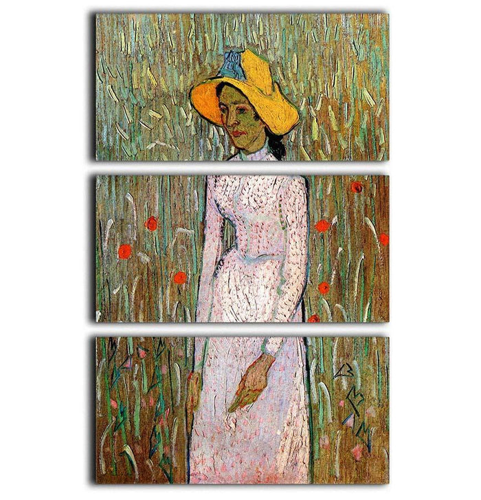 Young Girl Standing Against a Background of Wheat by Van Gogh 3 Split Panel Canvas Print