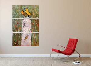 Young Girl Standing Against a Background of Wheat by Van Gogh 3 Split Panel Canvas Print - Canvas Art Rocks - 2