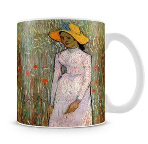 Young Girl Standing Against a Background of Wheat by Van Gogh Mug - Canvas Art Rocks - 4