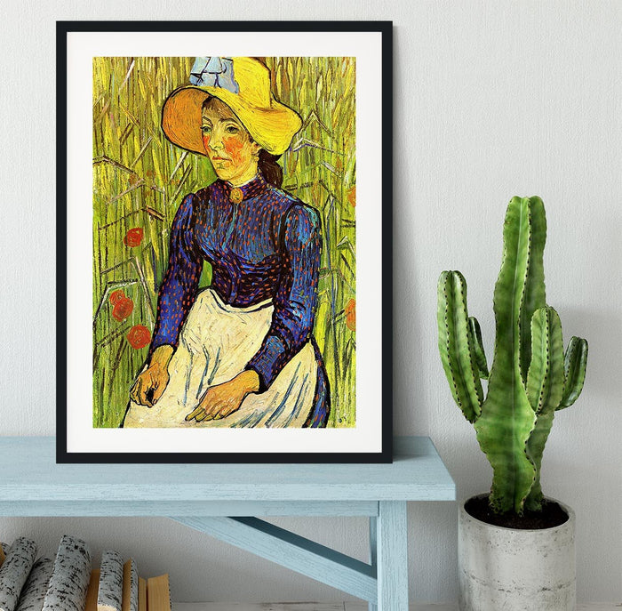 Young Peasant Woman with Straw Hat Sitting in the Wheat by Van Gogh Framed Print