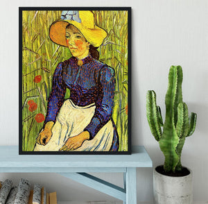 Young Peasant Woman with Straw Hat Sitting in the Wheat by Van Gogh Framed Print - Canvas Art Rocks - 2
