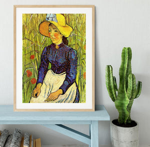 Young Peasant Woman with Straw Hat Sitting in the Wheat by Van Gogh Framed Print - Canvas Art Rocks - 3