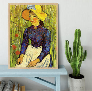 Young Peasant Woman with Straw Hat Sitting in the Wheat by Van Gogh Framed Print - Canvas Art Rocks - 4
