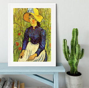 Young Peasant Woman with Straw Hat Sitting in the Wheat by Van Gogh Framed Print - Canvas Art Rocks - 5