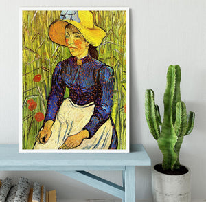 Young Peasant Woman with Straw Hat Sitting in the Wheat by Van Gogh Framed Print - Canvas Art Rocks -6