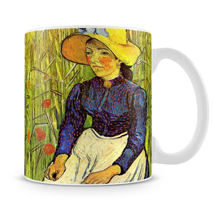 Young Peasant Woman with Straw Hat Sitting in the Wheat by Van Gogh Mug - Canvas Art Rocks - 4