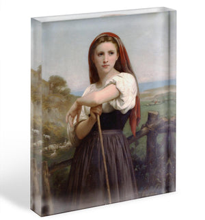 Young Shepherdess By Bouguereau Acrylic Block - Canvas Art Rocks - 1