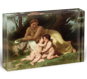 Young Woman Contemplating Two Embracing Children By Bouguereau Acrylic Block - Canvas Art Rocks - 1