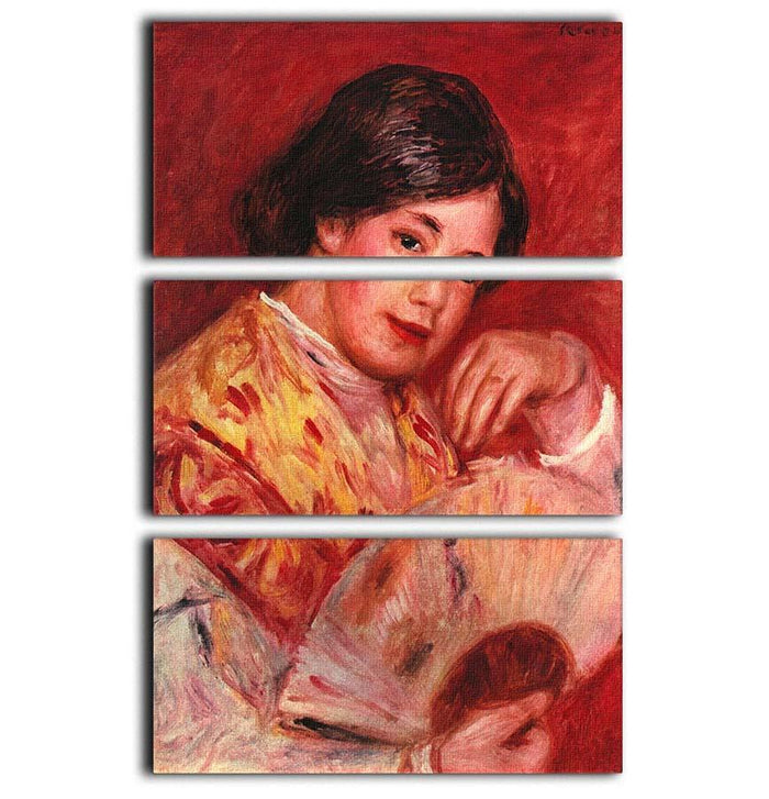 Young girl with fan by Renoir 3 Split Panel Canvas Print