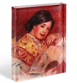 Young girl with fan by Renoir Acrylic Block - Canvas Art Rocks - 1