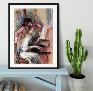 Young girls at the piano 1 by Renoir Framed Print - Canvas Art Rocks - 1