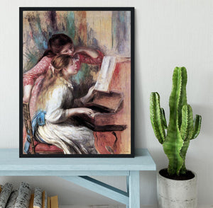 Young girls at the piano 1 by Renoir Framed Print - Canvas Art Rocks - 2