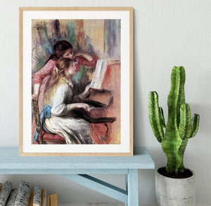 Young girls at the piano 1 by Renoir Framed Print - Canvas Art Rocks - 3