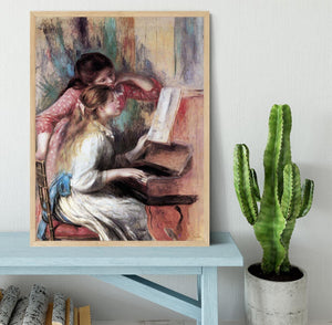 Young girls at the piano 1 by Renoir Framed Print - Canvas Art Rocks - 4