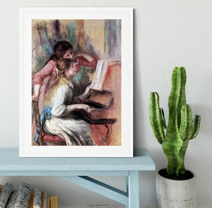 Young girls at the piano 1 by Renoir Framed Print - Canvas Art Rocks - 5