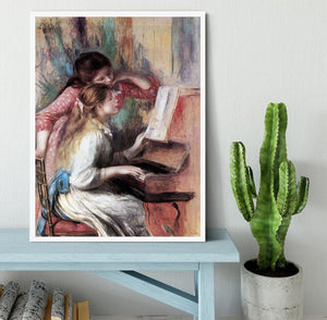 Young girls at the piano 1 by Renoir Framed Print - Canvas Art Rocks -6
