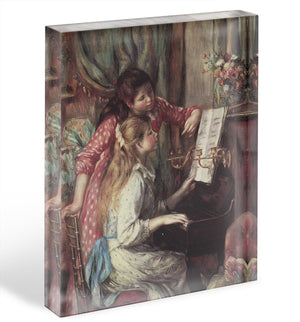 Young girls at the piano 2 by Renoir Acrylic Block - Canvas Art Rocks - 1