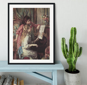 Young girls at the piano 2 by Renoir Framed Print - Canvas Art Rocks - 1