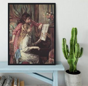Young girls at the piano 2 by Renoir Framed Print - Canvas Art Rocks - 2