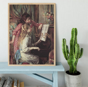 Young girls at the piano 2 by Renoir Framed Print - Canvas Art Rocks - 4