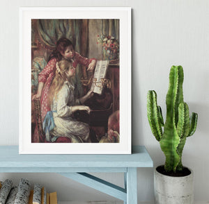 Young girls at the piano 2 by Renoir Framed Print - Canvas Art Rocks - 5