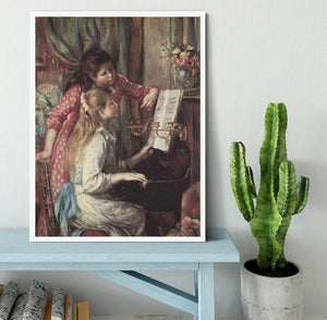 Young girls at the piano 2 by Renoir Framed Print - Canvas Art Rocks -6