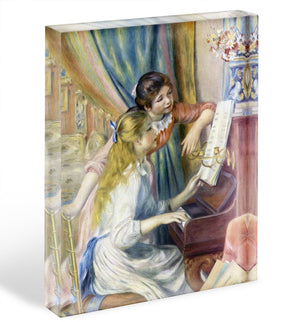 Young girls at the piano 3 by Renoir Acrylic Block - Canvas Art Rocks - 1