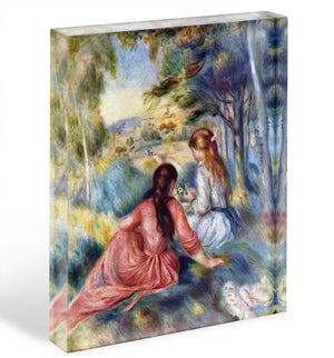 Young girls in the meadow by Renoir Acrylic Block - Canvas Art Rocks - 1