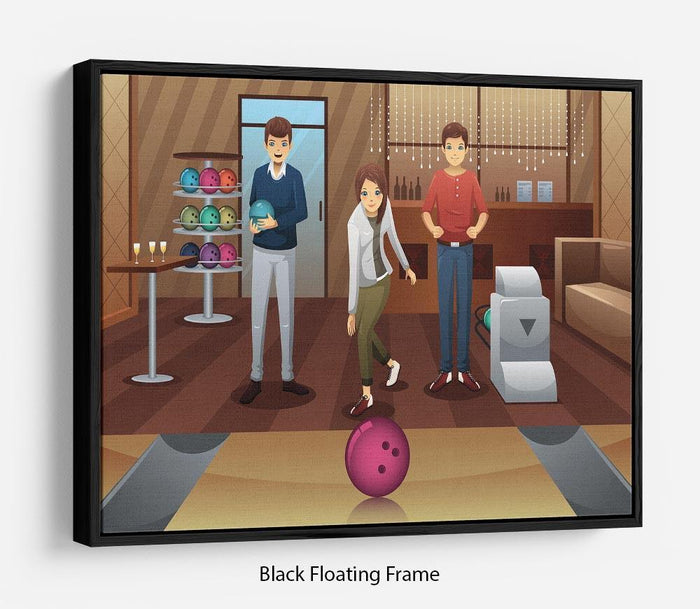 Young people playing bowling together Floating Frame Canvas