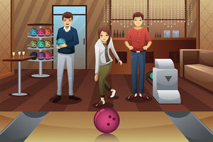 Young people playing bowling together Wall Mural Wallpaper - Canvas Art Rocks - 1