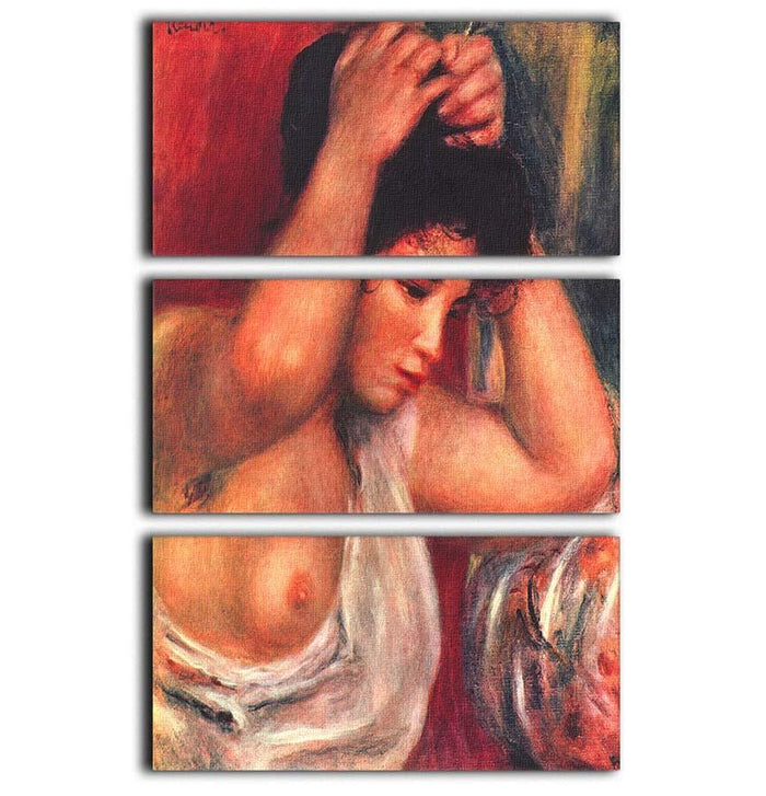 Young woman hairdressing by Renoir 3 Split Panel Canvas Print