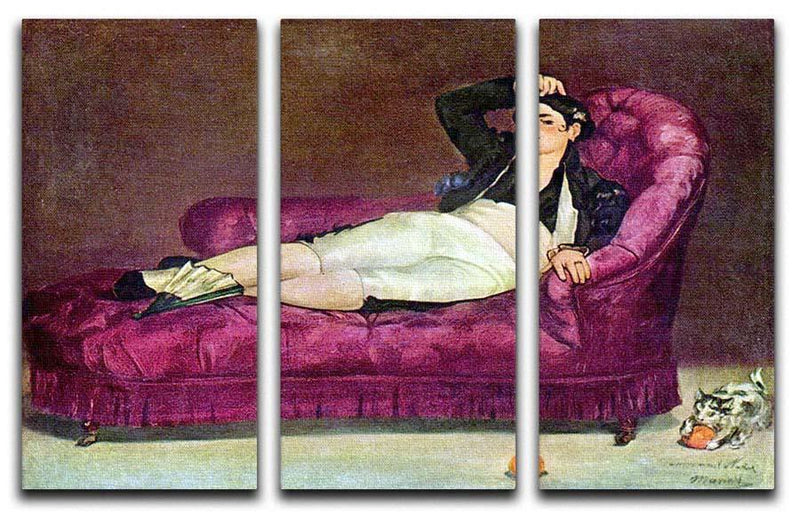 Young woman in Spanish dress by Manet 3 Split Panel Canvas Print - Canvas Art Rocks - 1