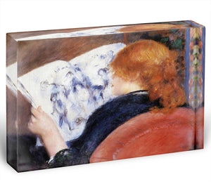 Young woman reads illustrated journal by Renoir Acrylic Block - Canvas Art Rocks - 1