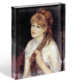 Young woman strokes her hair by Renoir Acrylic Block - Canvas Art Rocks - 1