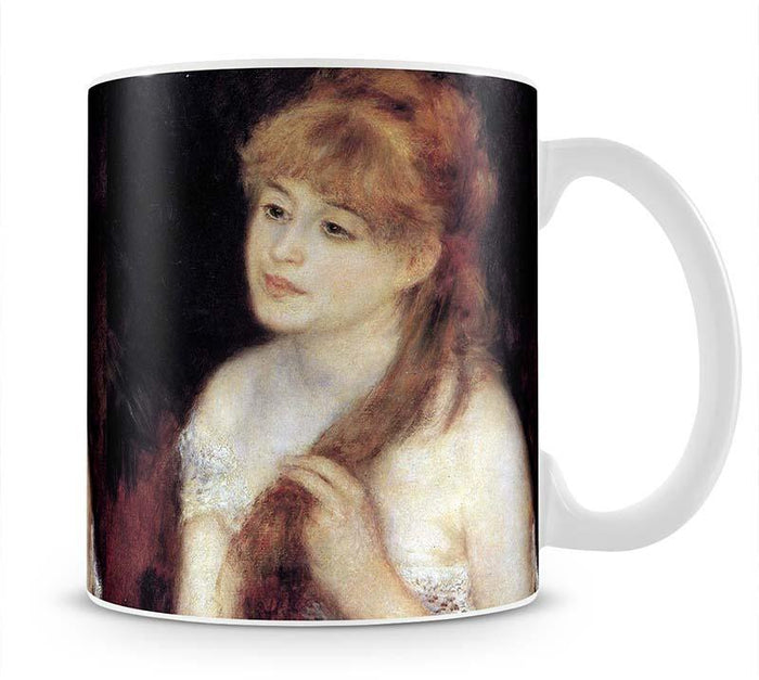 Young woman strokes her hair by Renoir Mug