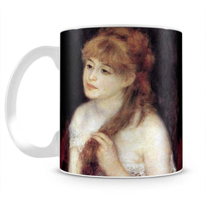 Young woman strokes her hair by Renoir Mug - Canvas Art Rocks - 2