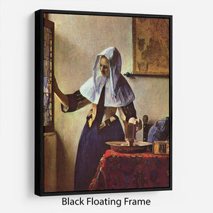 Young woman with a water jug at the window by Vermeer Floating Frame Canvas - Canvas Art Rocks - 1